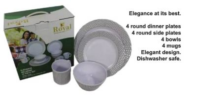 16 Piece Melamine Set - Elegance pattern