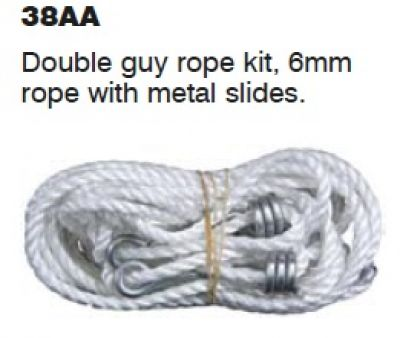 Double guy rope 6mm with metal slides