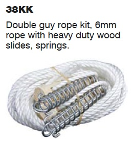 SUPEX Double guy rope 6mm with heavy duty wood slides and springs