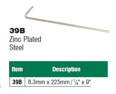 225mm x 6.3mm Zinc Plated Steel Tent Peg