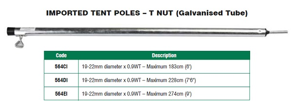 Galvanised Tube Extension 274cm Tent Pole