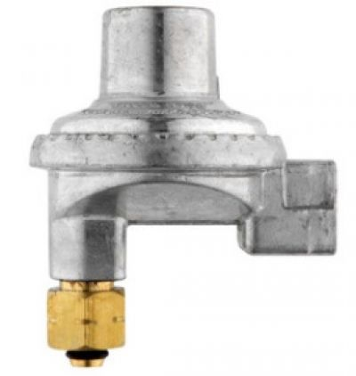 "GASMATE Right angled regulator to suit BSP LH cylinders with 3/8"" BSP F outlet"