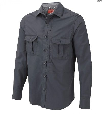 CRAGHOPPERS Nosilife Mens Long Sleeve Shirt in Faded Indigo
