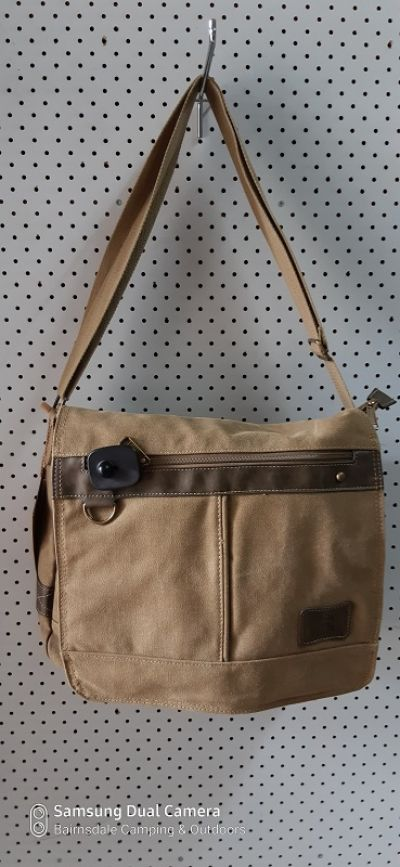 CAMPRO SL029Shoulder Bag - Khaki with Dark Brown Faux Leather