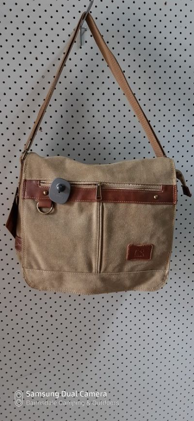 CAMPRO SL029 Shoulder Bag - Khaki with Brown Faux Leather