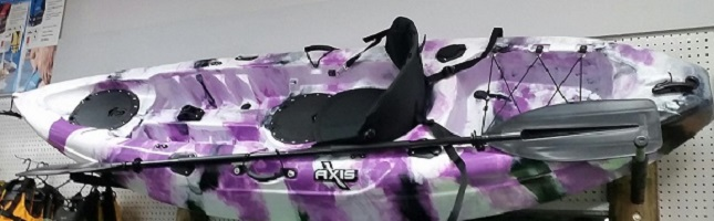 AXIS Single Angler Fishing Kayak in Purple and White