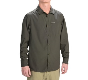 CRAGHOPPERS Mens Nosilife  Belay Long Sleeve Shirt in Dark Khaki