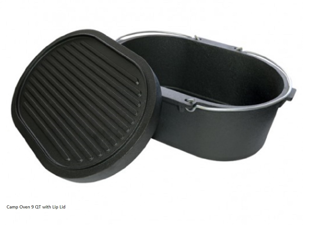 Cast Iron Camp Oven Oval 10QT with lip lid