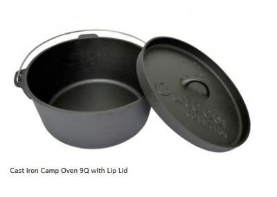 Cast Iron Camp Oven Round 9QT with lip lid
