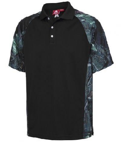 ADVENTURELINE Mens Hunter Camo Polo Black