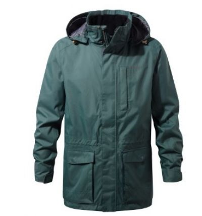 CRAGHOPPERS  Mens Kiwi Long Jacket in Asteroid Green