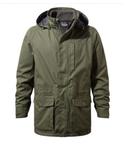 CRAGHOPPERS Mens Kiwi Long Jacket Parka in Green