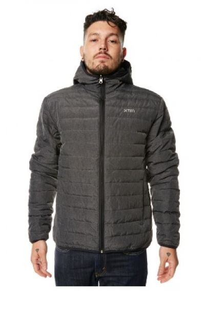 XTM Mens Hooded Stuff It Jacket in grey marle