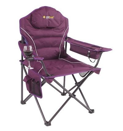 OZTRAIL Modena Arm Chair with Wine glass / champagne flute holder.
