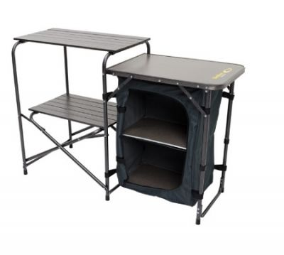 OUTDOOR CONNECTION Stove Stand with Table and Cupboard