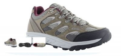 HITEC Womens Wild Fire Low Walking Shoe in taupe, warm grey and grape wine.