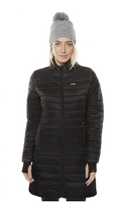 XTM Womens Peppin Hooded Longline Jacket in Black