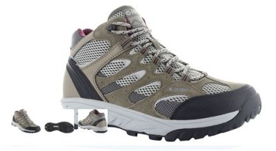 HITEC Womens Wild Fire Mid Walking Boot in taupe, warm grey and grape wine