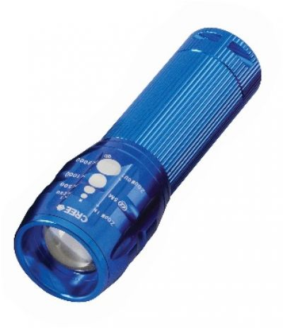 PERFECT IMAGE Aluminium Flashlight 3 watt 170 lumens zoom torch, Blue