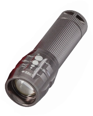 PERFECT IMAGE Aluminium flashlight  3 watt 170 lumens zoom torch, Grey